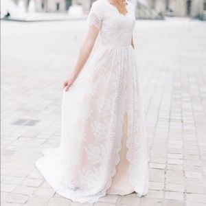 Beautiful Custom Made Lace Modest Wedding Dress
